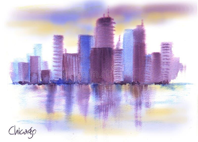 Desenho desenhado à mão da aquarela da paisagem americana ilustração royalty free
