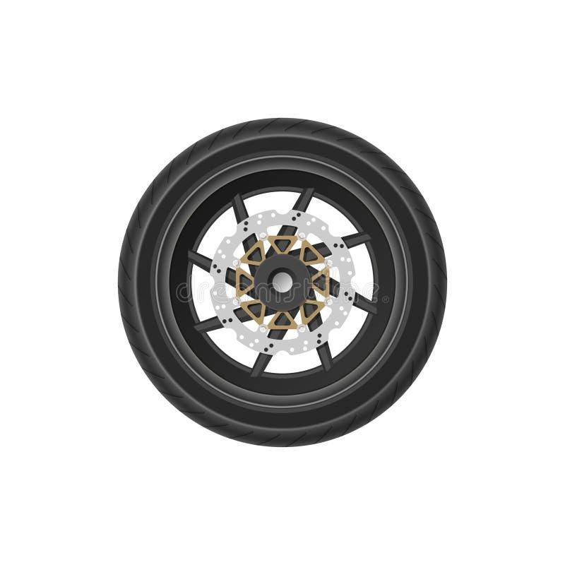 Desenho detalhado da roda da motocicleta Imagem realística do detalhe de bicicleta Parte do mecanismo do veículo ilustração stock