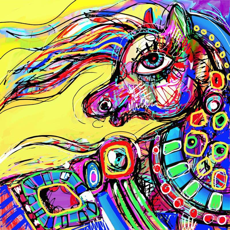 Desenho digital abstrato original da cabeça colorida ilustração royalty free
