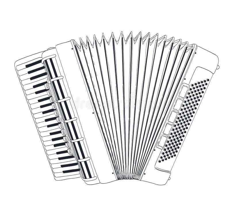 Desenho do acordeão ilustração royalty free