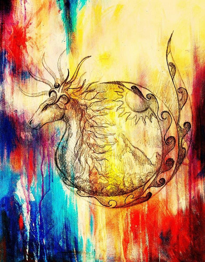 Desenho do animal e do sol decorativos com a montanha na colagem do computador do fundo e na estrutura de papel velhas da cor ilustração royalty free