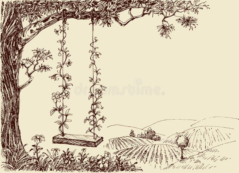 Desenho do balanço ilustração stock