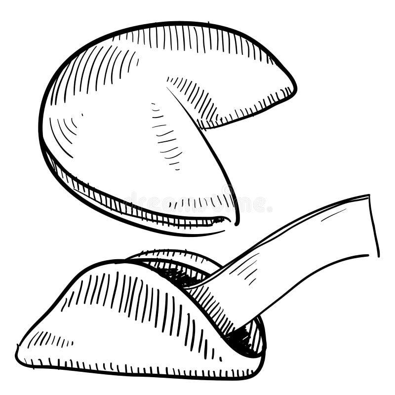 Desenho do bolinho de fortuna ilustração royalty free