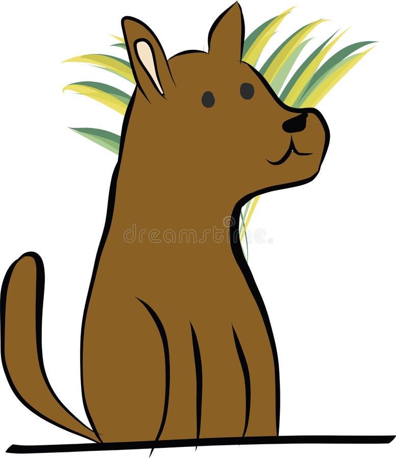 Desenho do cão que espera ao sentar-se ilustração royalty free