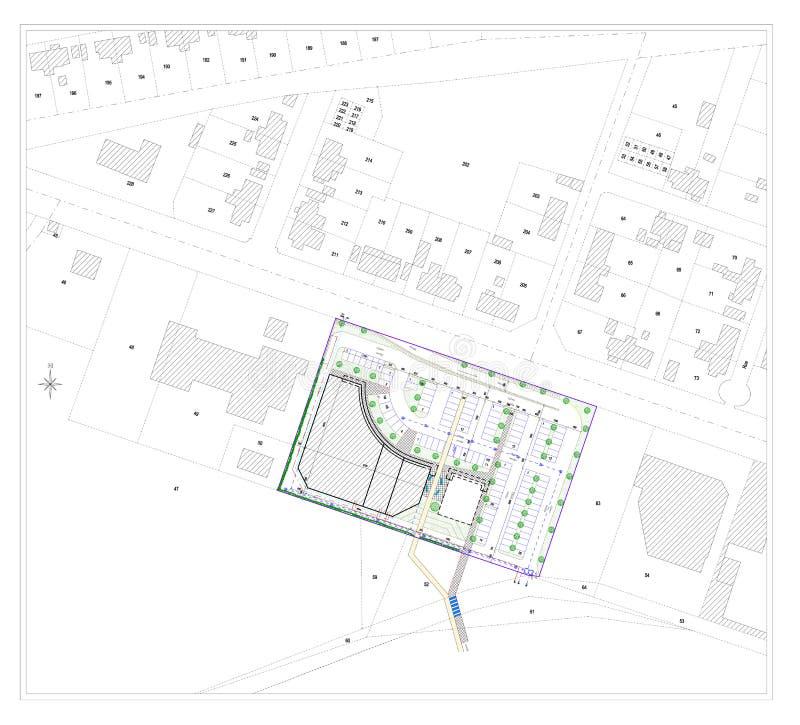 Desenho do CAD e esboço de uma cidade ilustração stock
