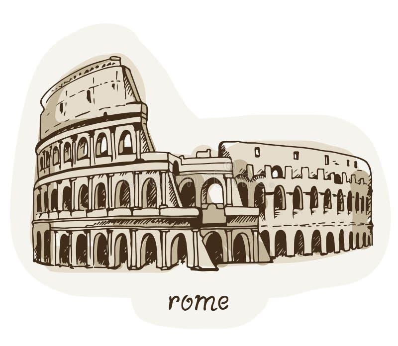 Desenho do coliseu, ilustração de Colosseum em Roma, Itália ilustração do vetor