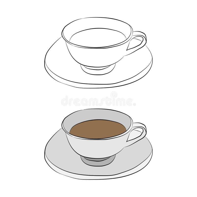 Desenho do contorno do copo no lápis ilustração royalty free