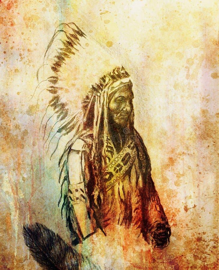 Desenho do contramestre indiano Sitting Bull - Totanka Yotanka do nativo americano que concorda a fotografia histórica, com o bon ilustração stock