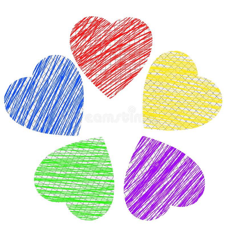 Desenho do coração no caderno do papel de gráfico imagem de stock royalty free