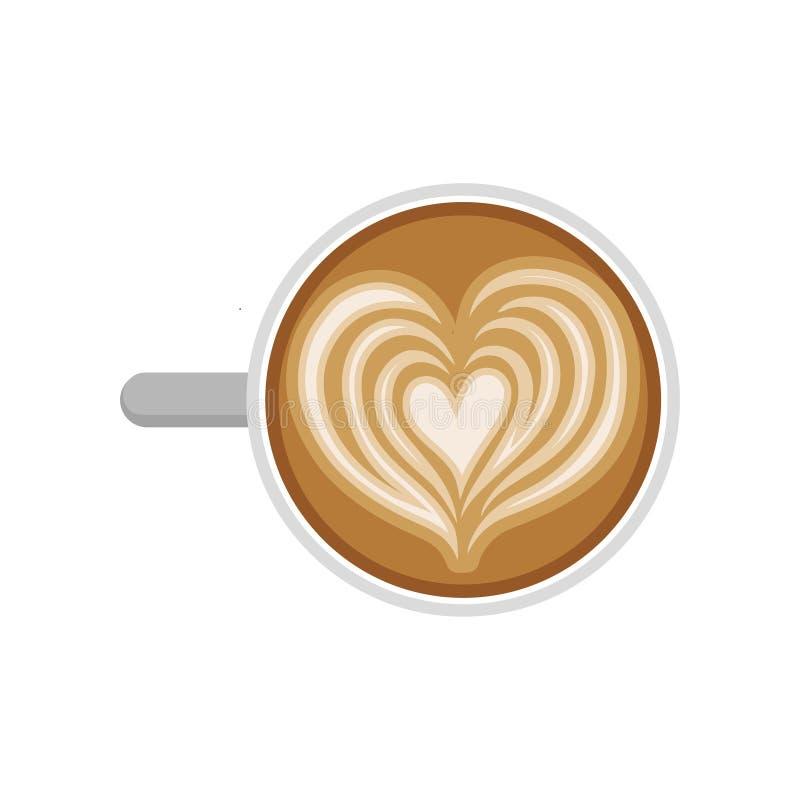 Desenho do coração no latte Copo do café delicioso, vista superior Bebida saboroso da manhã Vetor liso para o menu do café ou do  ilustração royalty free