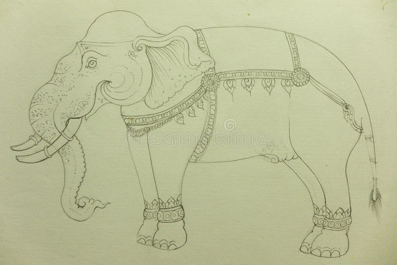Desenho do elefante ilustração royalty free