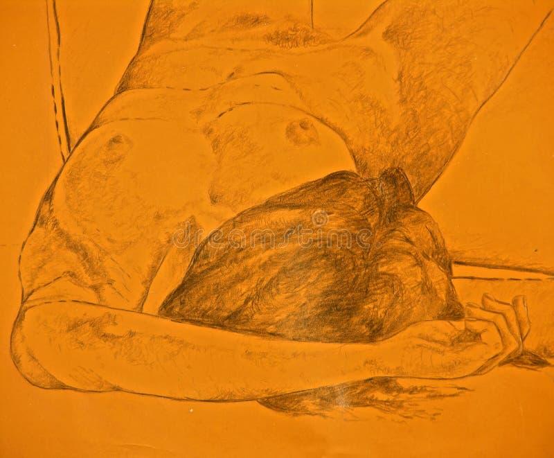 Desenho Do Encontro Despido Da Mulher Sem-vida Imagem de Stock
