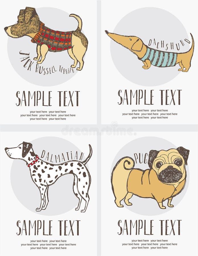 desenho do Esboço-estilo do grupo de cartões dos cães ilustração stock