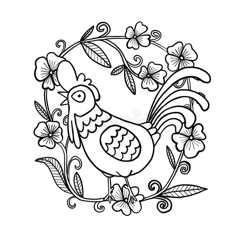 Desenho do galo com quadro da flor, ilustração isolada imagem de stock royalty free
