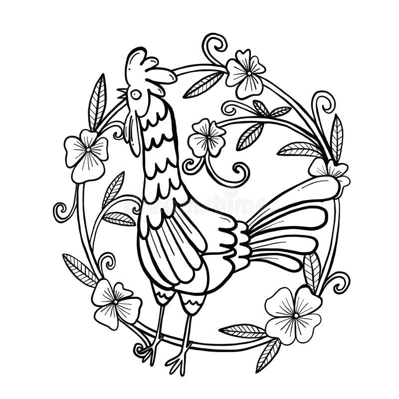 Desenho do galo com quadro da flor, ilustração isolada foto de stock