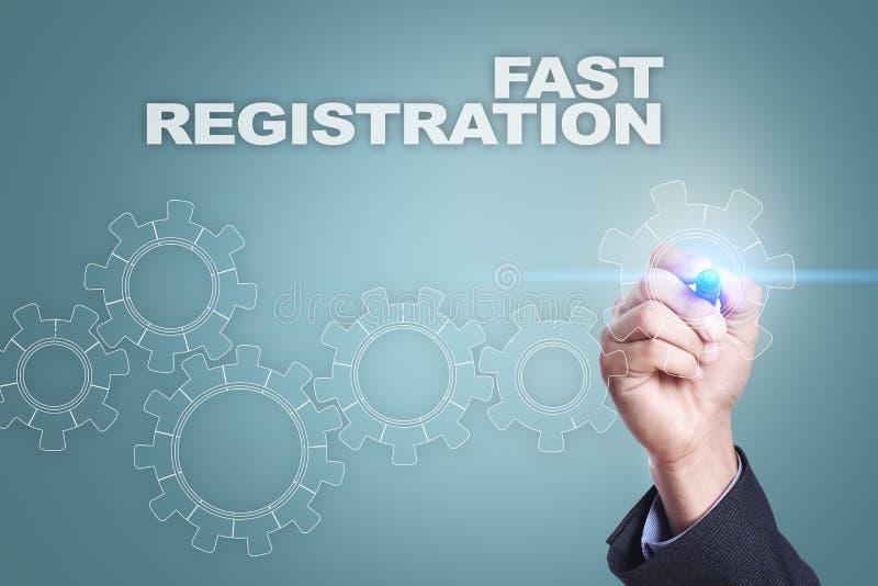 Desenho do homem de negócios na tela virtual conceito rápido do registro ilustração royalty free