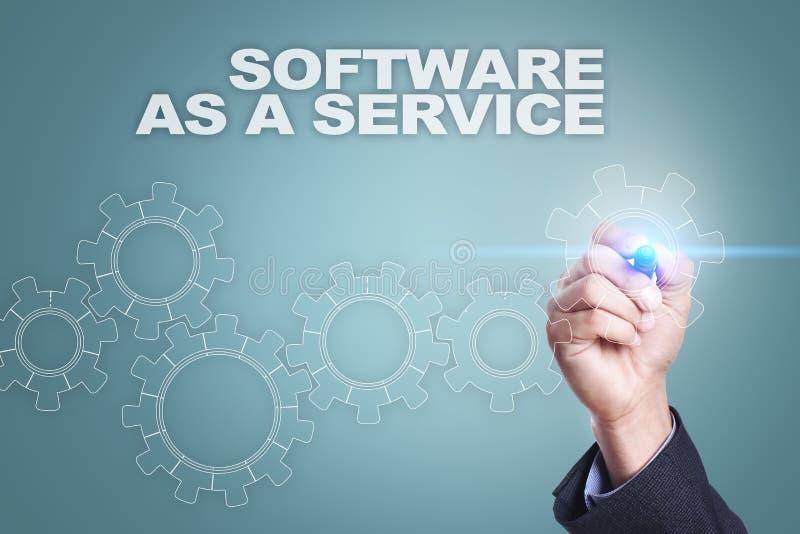 Desenho do homem de negócios na tela virtual software como um conceito do serviço fotografia de stock royalty free