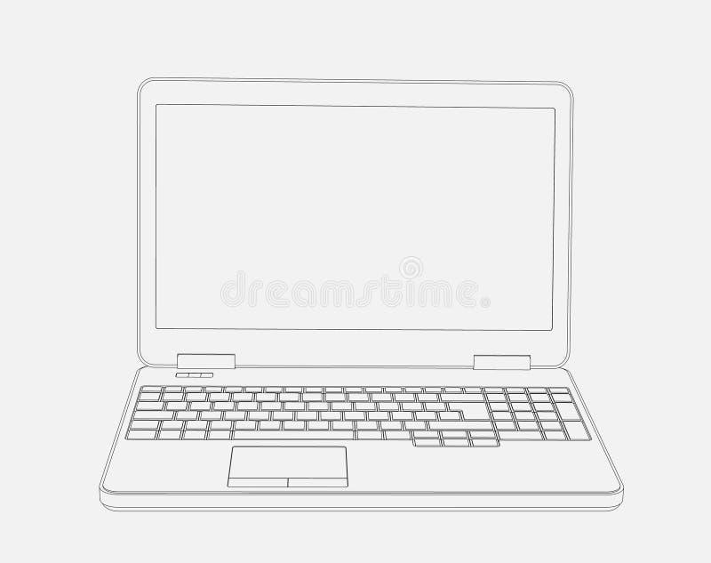 Desenho do laptop 3D no fundo branco imagem de stock royalty free