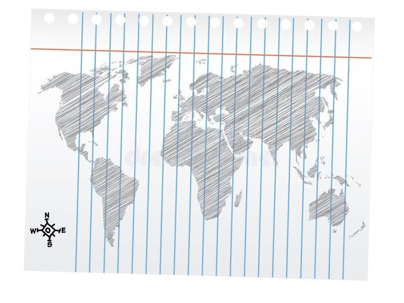 Desenho do mapa de mundo, esboço do lápis ilustração do vetor