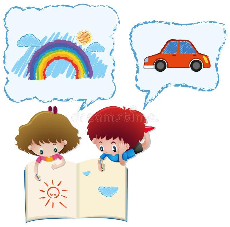 Desenho do menino e da menina no livro do esboço ilustração stock