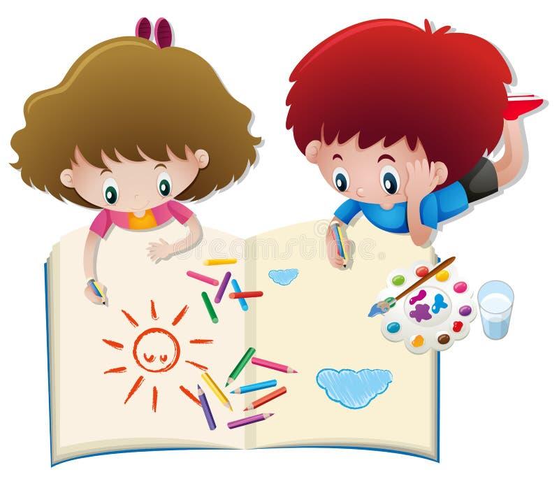 Desenho do menino e da menina no livro grande ilustração royalty free