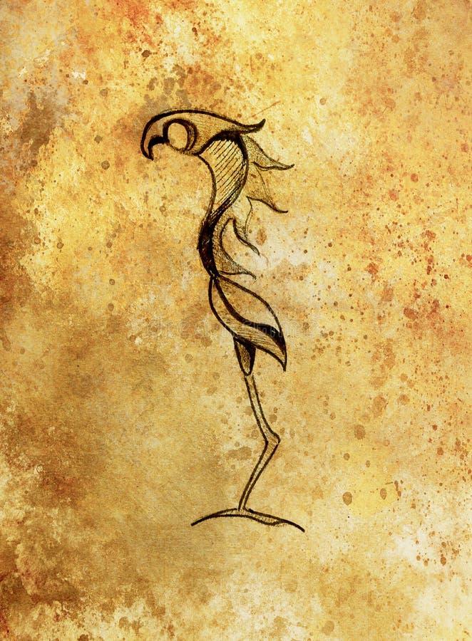 Desenho do pássaro da fantasia, desenho de lápis e efeito da cor ilustração do vetor