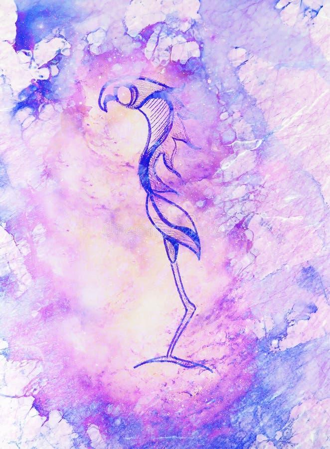Desenho do p?ssaro da fantasia, desenho de l?pis e efeito da cor ilustração do vetor