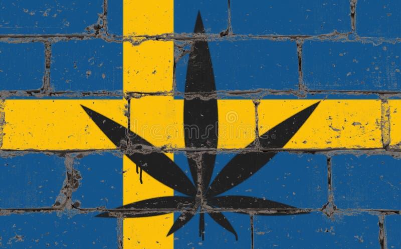 Desenho do pulverizador da arte da rua dos grafittis no estêncil Folha do cannabis na parede de tijolo com Suécia da bandeira ilustração do vetor