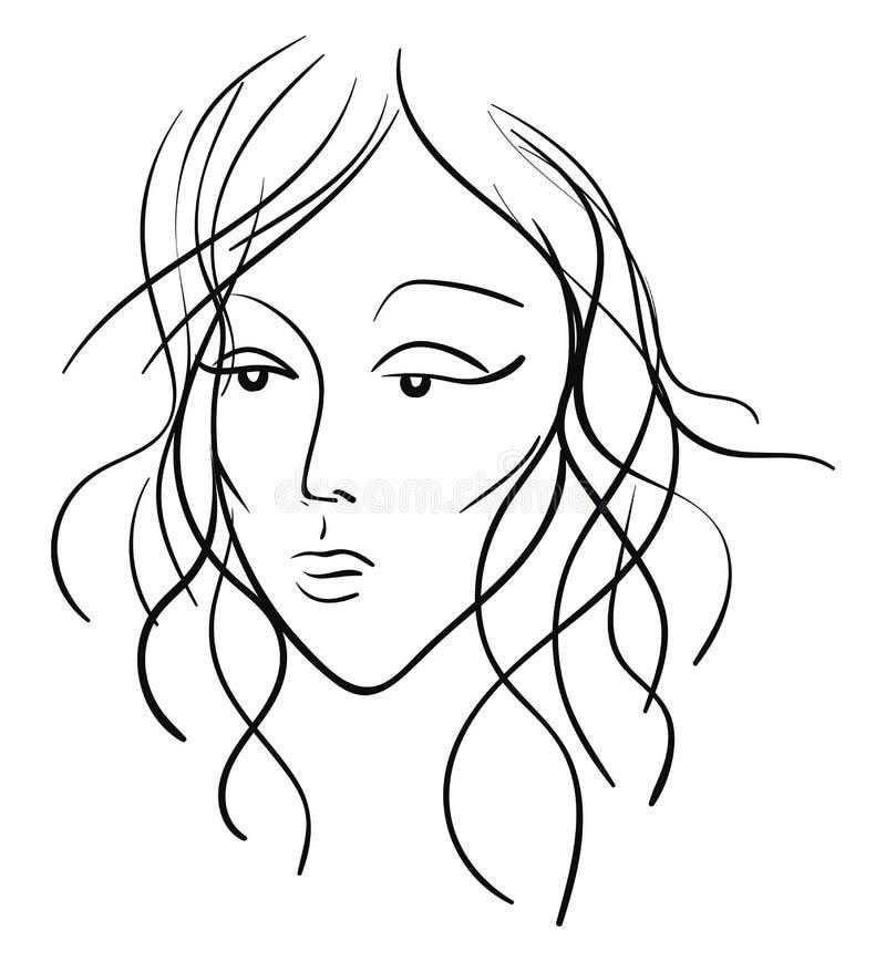 Desenho Do Rosto De Uma Mulher Bonita No Vetor Preto Ou Ilustracao