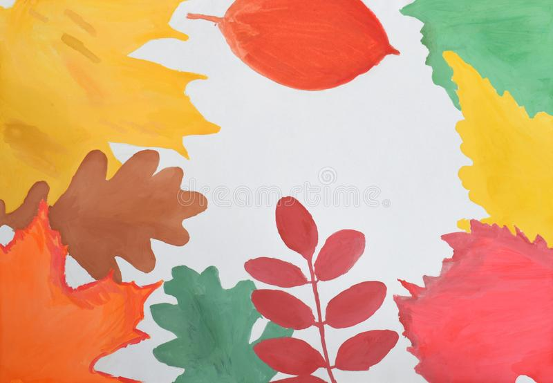 Desenho do ` s das crianças: o quadro do outono de amarelo, vermelho, verde, laranja sae Olá! conceito do outono Copie o espaço fotos de stock royalty free