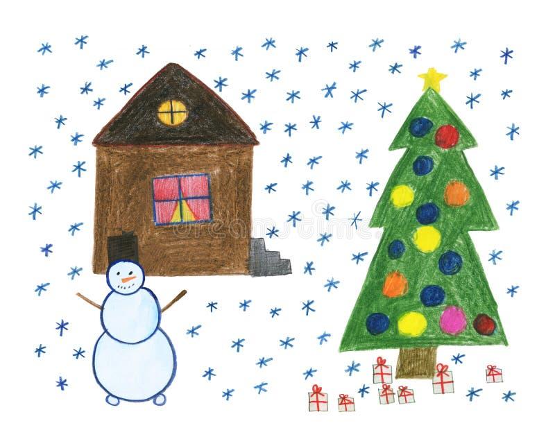 Desenho do ` s das crian?as com l?pis coloridos Um boneco de neve perto da casa snowfall ?rvore do ano novo com brinquedos e pres ilustração royalty free