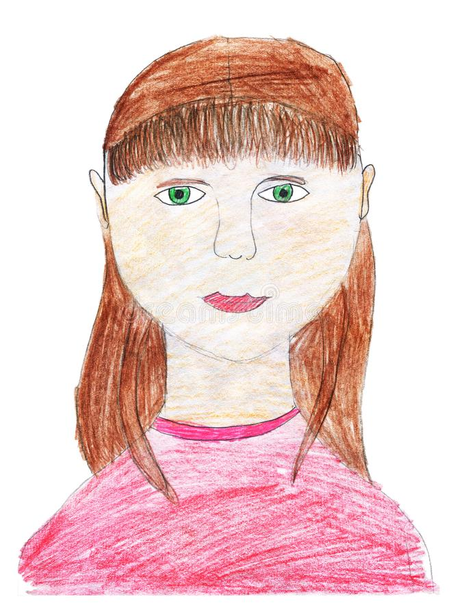Desenho do ` s das crian?as com l?pis coloridos Um retrato de uma menina de sorriso com seu cabelo frouxamente Isolado no fundo b ilustração stock