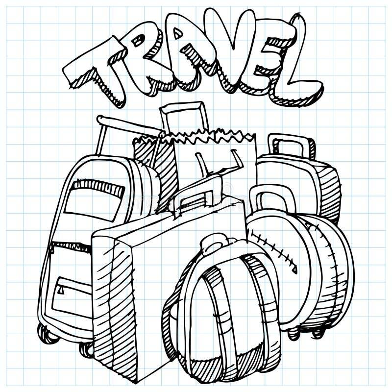 Desenho do saco do curso ilustração royalty free
