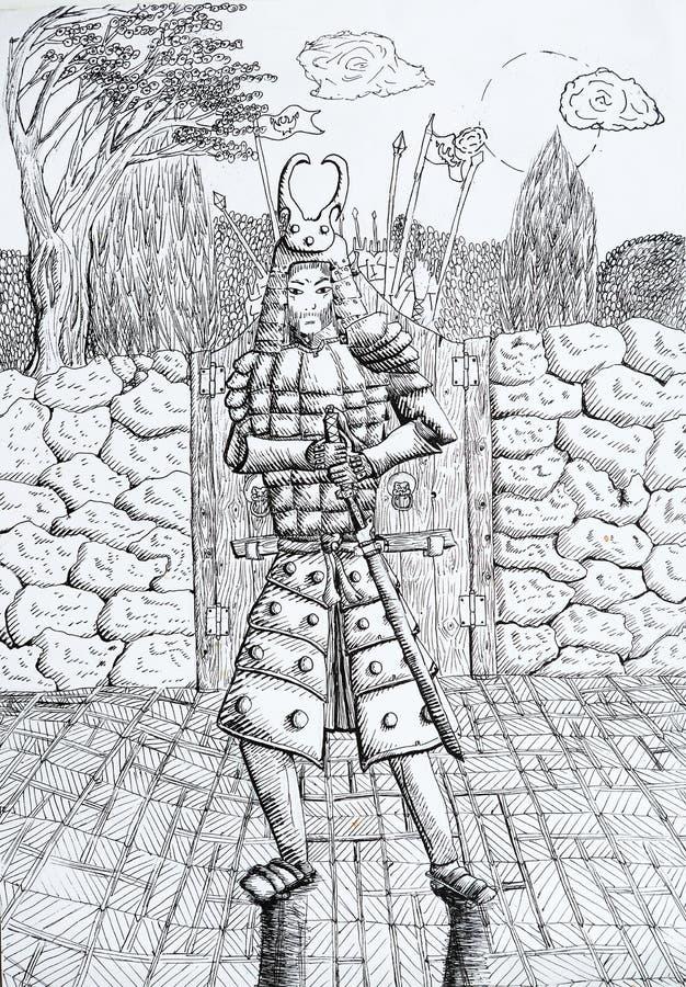 Desenho do samurai com as árvores da lua da porta da parede ilustração stock