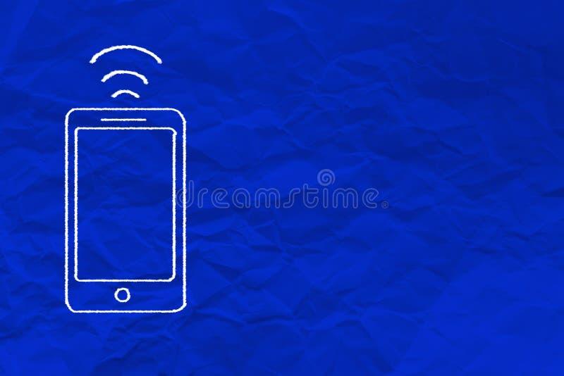 Desenho do smartphone no papel azul da dobra Crumpled ilustração do vetor