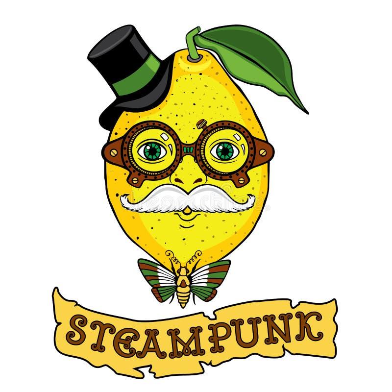 Desenho do Sr. Lemon ao estilo do steampunk ilustração stock