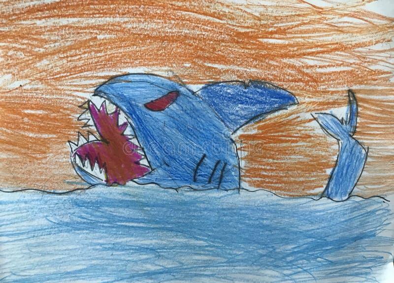 Desenho do tubarão por uma criança fotografia de stock royalty free