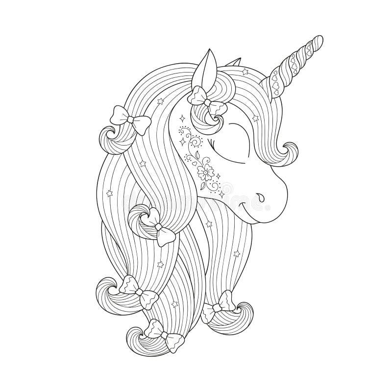Desenho do unicórnio de Zendoodle Projeto para crianças Forme o desenho da ilustração no estilo moderno para a roupa Cópia de men ilustração do vetor