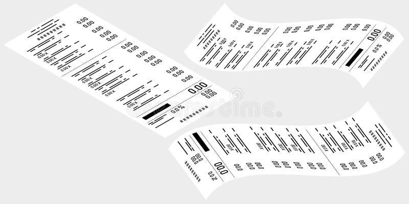 Desenho do vetor Ajuste das verificações de caixa em um fundo cinzento Negócio, comércio eletrônico ilustração do vetor