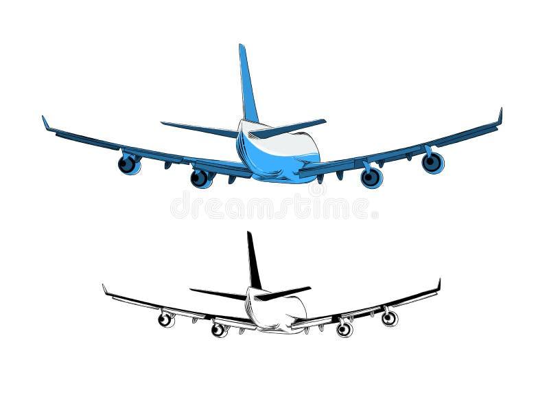Desenho do vetor do avião na cor azul, isolado no fundo branco Tirando para cartazes, decora??o e c?pia fotografia de stock