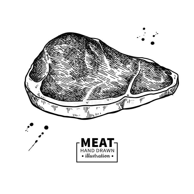 Desenho do vetor do bife do lombo Esboço tirado mão da carne vermelha Ilustração gravada do alimento ilustração royalty free
