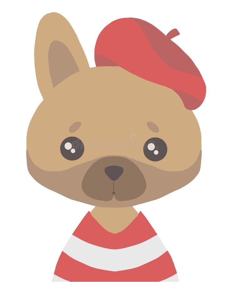 Desenho do vetor do cão marrom simples bonito do buldogue francês do estilo dos desenhos animados com a camisa listrada vermelha  ilustração do vetor