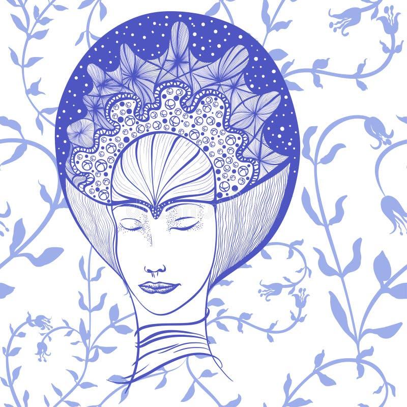 Desenho do vetor A cara de uma menina com seus olhos fechados na coroa Fôrma e beleza Use materiais impressos, sinais, artigos, W ilustração royalty free