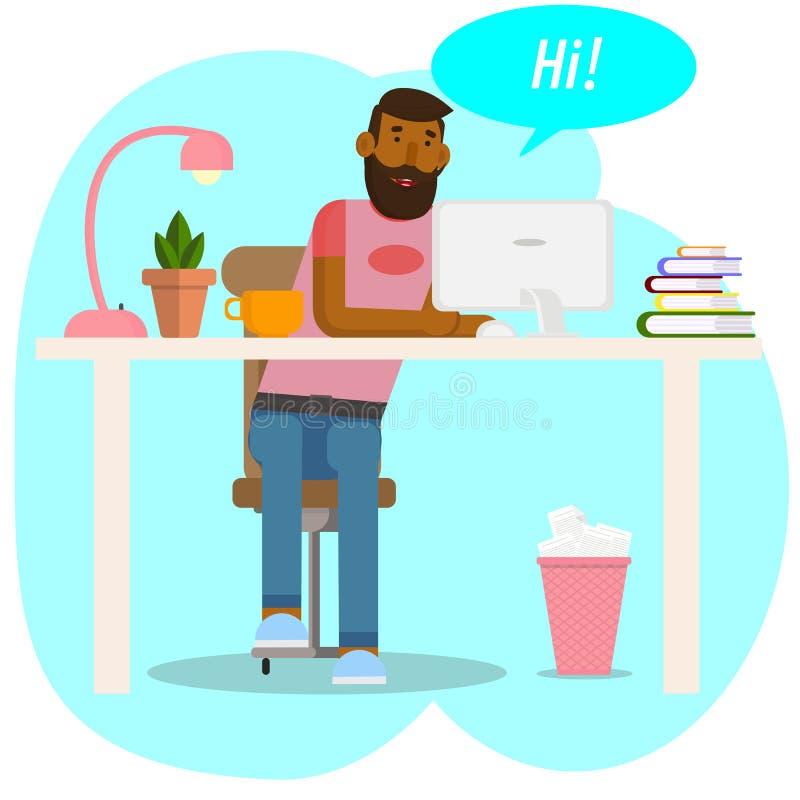 Desenho do vetor Conceito do espa?o de trabalho O moderno trabalha para no computador O homem novo comunica-se em redes sociais H ilustração stock