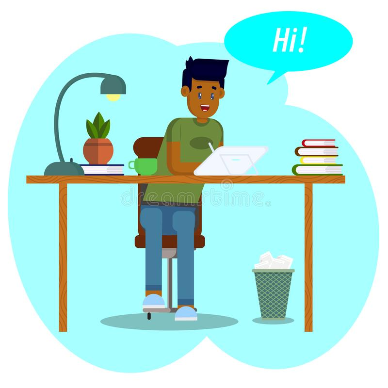 Desenho do vetor Conceito do espa?o de trabalho O estudante do menino trabalha com uma tabuleta O homem novo comunica-se em redes ilustração royalty free