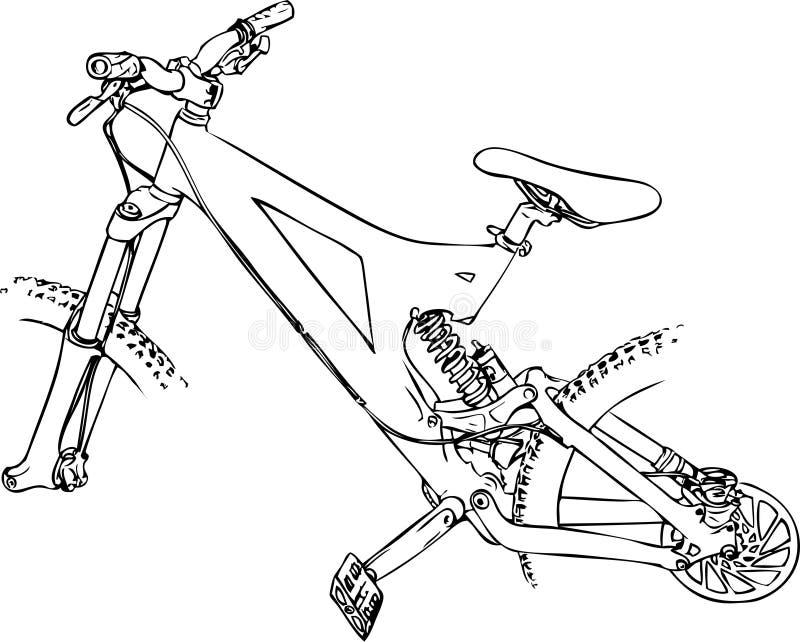 Desenho do vetor da bicicleta de Mountine ilustração royalty free