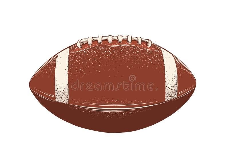 Desenho do vetor da bola de rugby na cor, isolado no fundo branco Ilustra??o gr?fica, desenho da m?o Tiragem para foto de stock royalty free