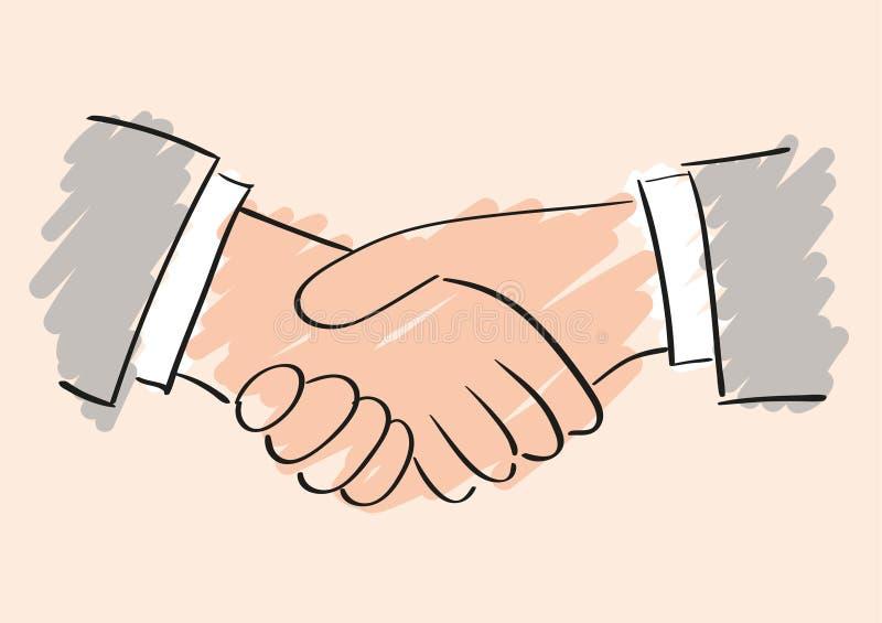 Desenho do vetor da mão do aperto de mão Símbolo da parceria e da cooperação da amizade ilustração royalty free