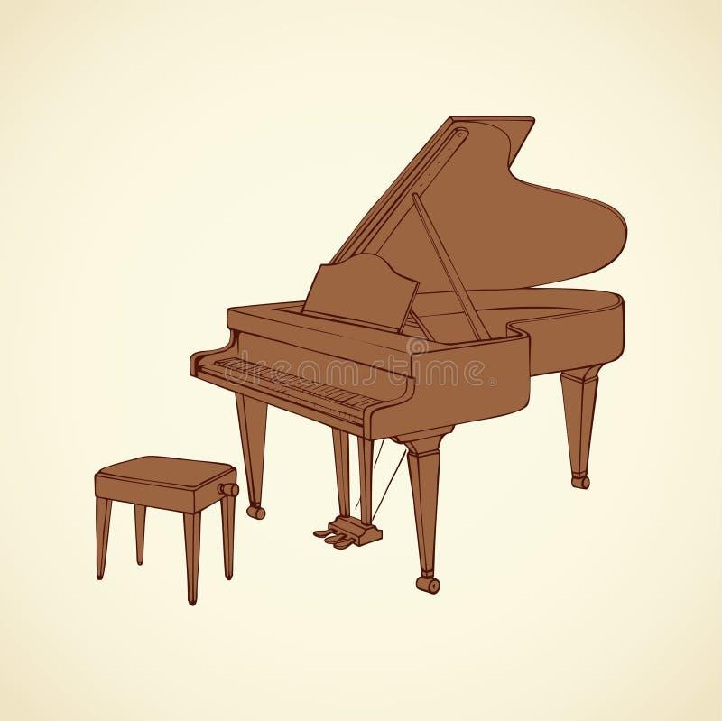 Desenho do vetor de um piano de cauda aberto ilustração do vetor