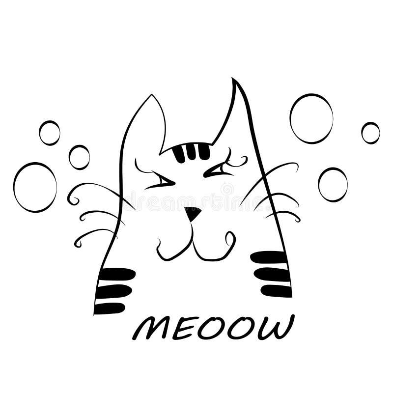 Desenho do vetor de uma cabeça do gato imagem de stock royalty free